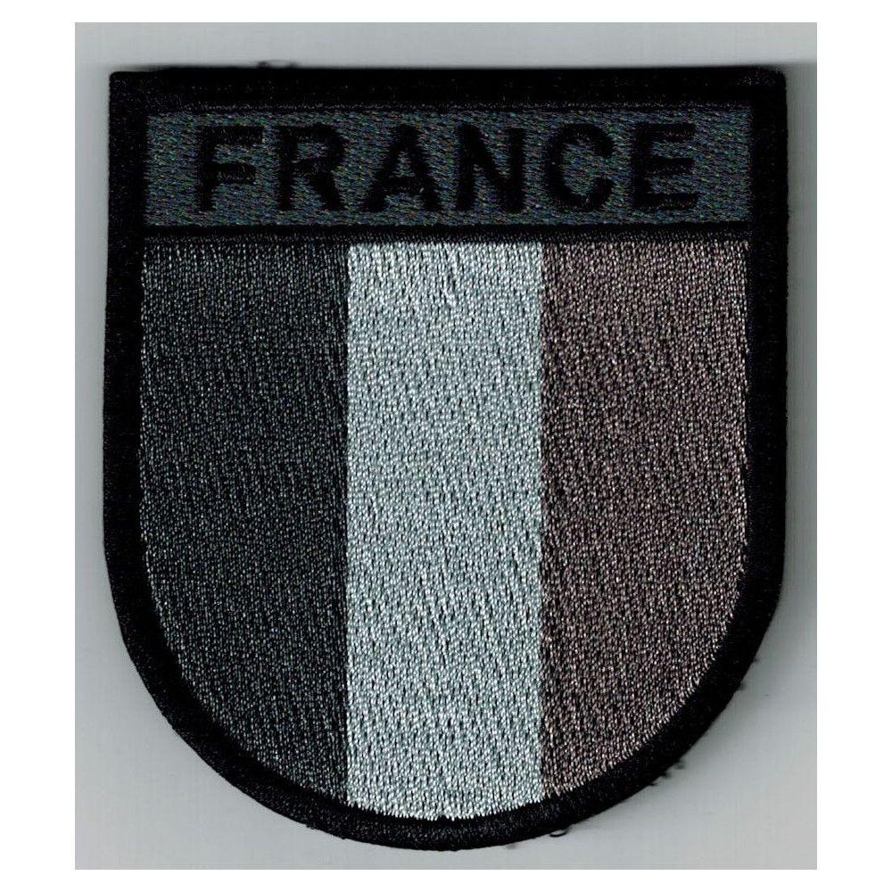 Ecusson de bras brodé FRANCE B.V noir/gris