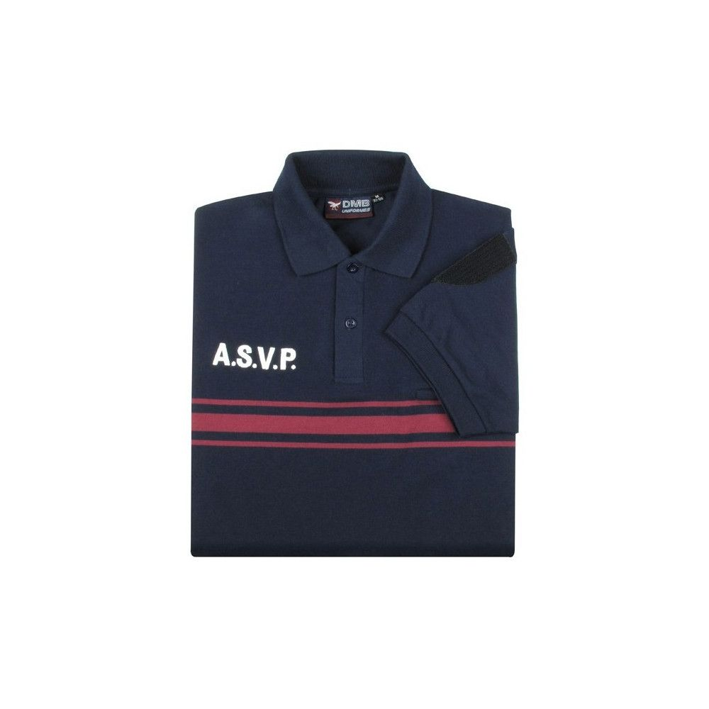 Polo manches courtes bleu marine ASVP bandes bordeaux