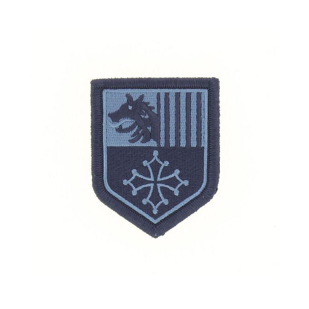 Ecusson de Bras Brode Gendarmerie Departemetale Languedoc Roussillon Basse Visibilite Bleu