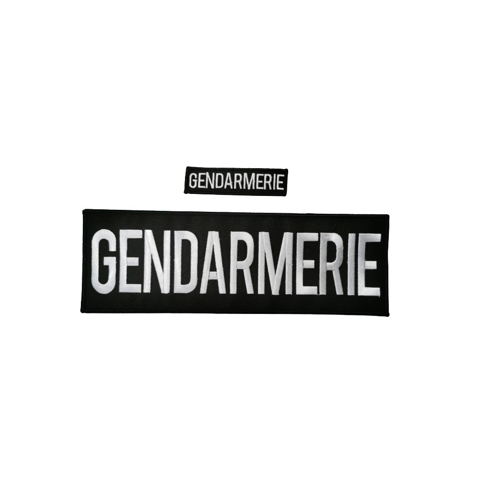 Jeu de bande noir brodé Gendarmerie