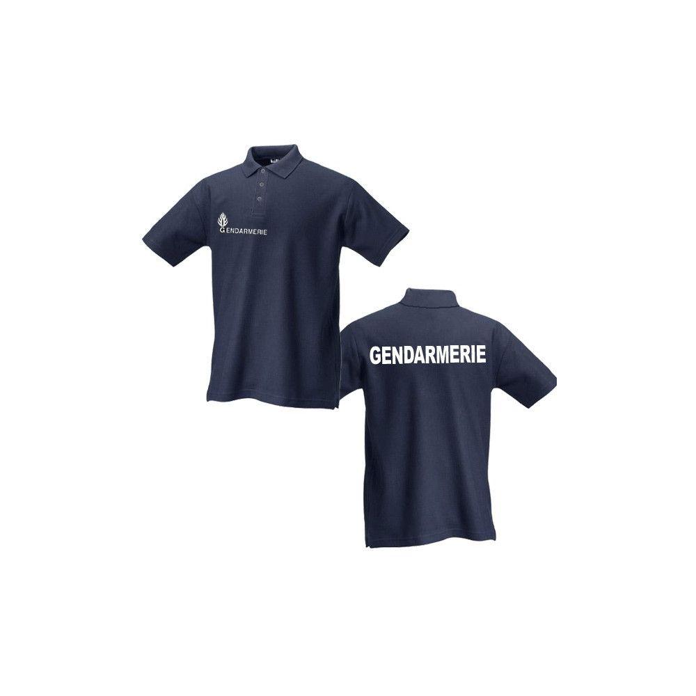 Polo gendarmerie bleu marine sérigraphie blanche